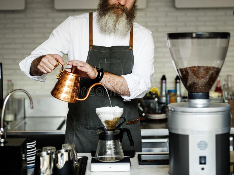 Barista Prepare Coffee Working Order Concept stock image