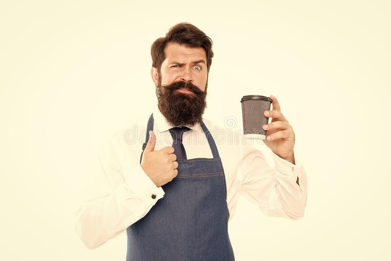 Barista prepared coffee for you. Enjoying fresh coffee. Inspired with cup of fresh coffee. Bearded man hold paper coffee stock images