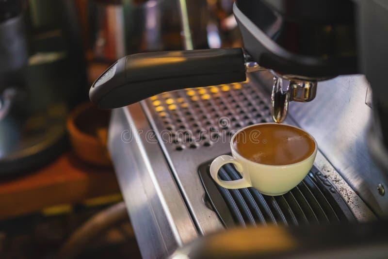 Barista prepares to make coffee with a coffee machine.  stock photo