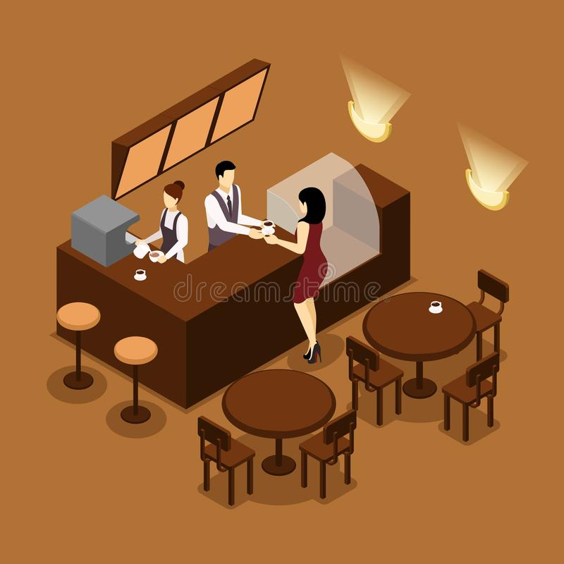Barista Serving Customer Isometric Brown Poster royalty free illustration