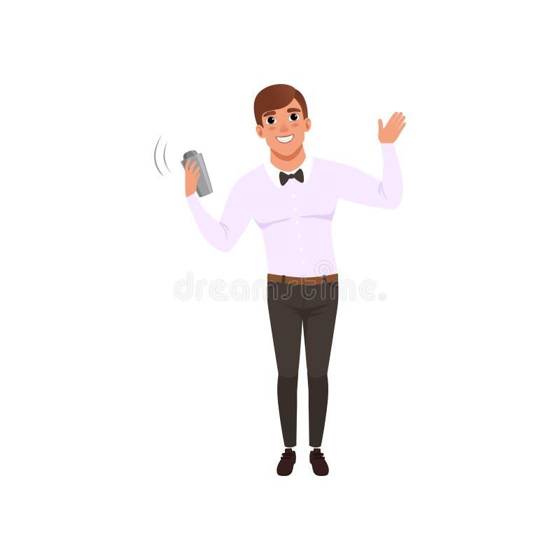 Barista sorridente che scuote il cocktail dell'alcool in agitatore, carattere del barista all'illustrazione di vettore del fumett illustrazione di stock