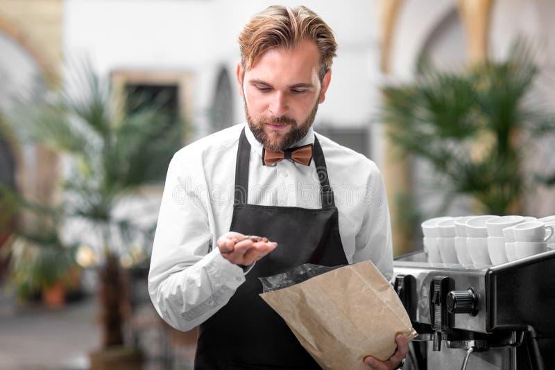 Barista sprawdza kawowe fasole przy kawiarnią zdjęcia royalty free