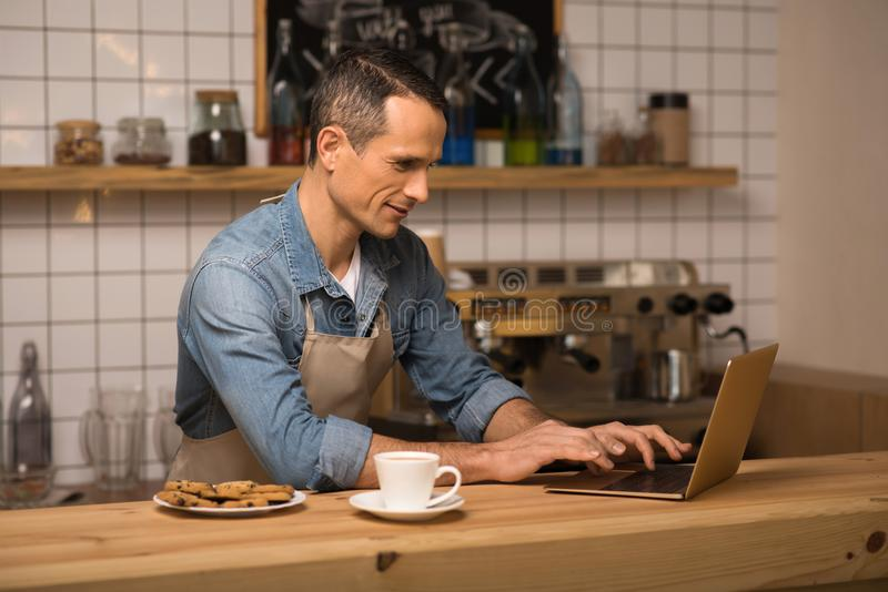 Barista using laptop. Side view of young barista in apron using laptop royalty free stock images