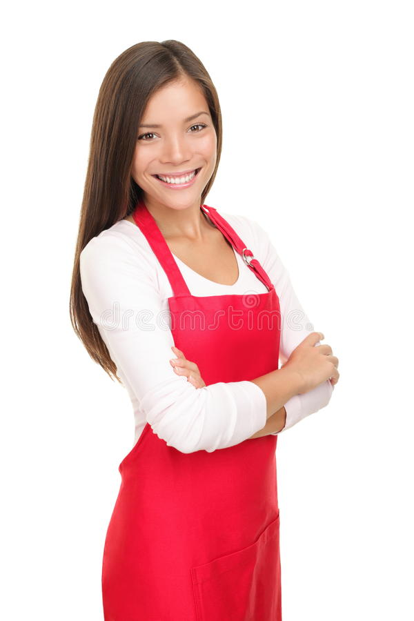 Barista woman / small shop owner portrait. Beautiful young sales clerk or small shop owner isolated on white background. Smiling young woman stock photos