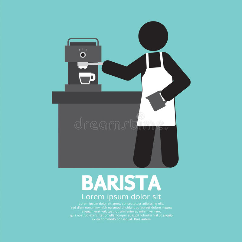 Barista Working With Espresso Machine. Vector Illustration royalty free illustration