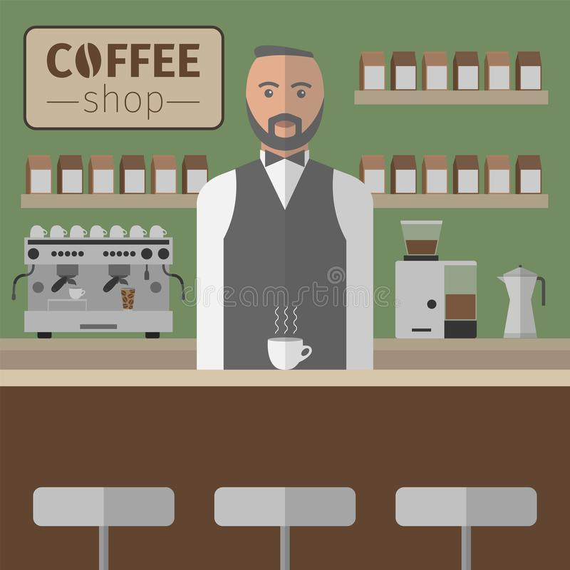 Barista Working With Espresso maskin vektor stock illustrationer