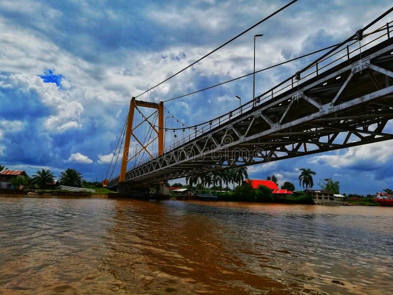 Barito Bridge. River, martapura, indonesia, wonderful, island stock photos