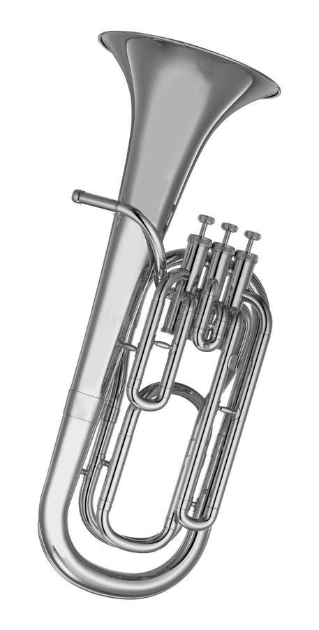 Baritonhorntuba lokalisiert auf Weiß lizenzfreies stockbild