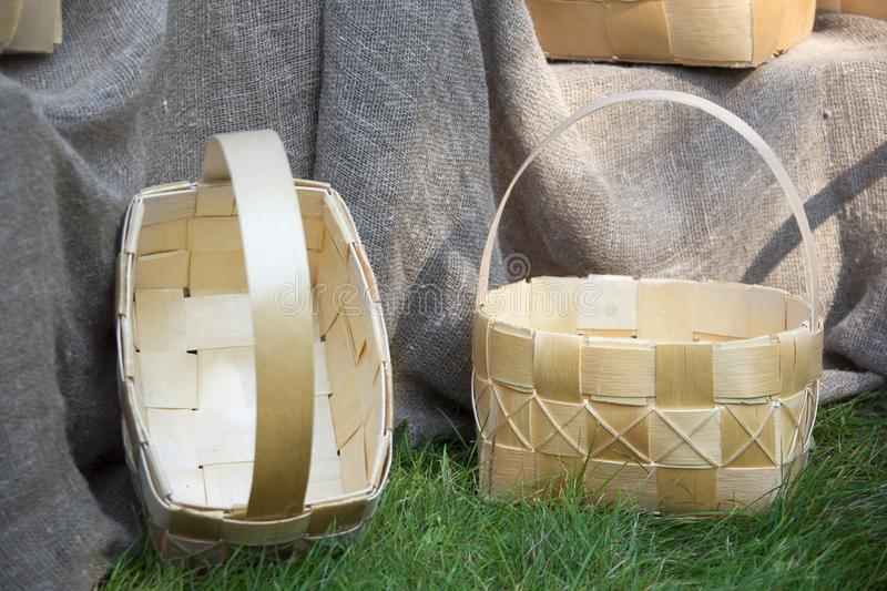 Bark baskets. Birch products royalty free stock images