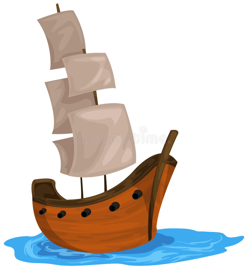Bark boat. Illustration of isolated bark boat on white background vector illustration