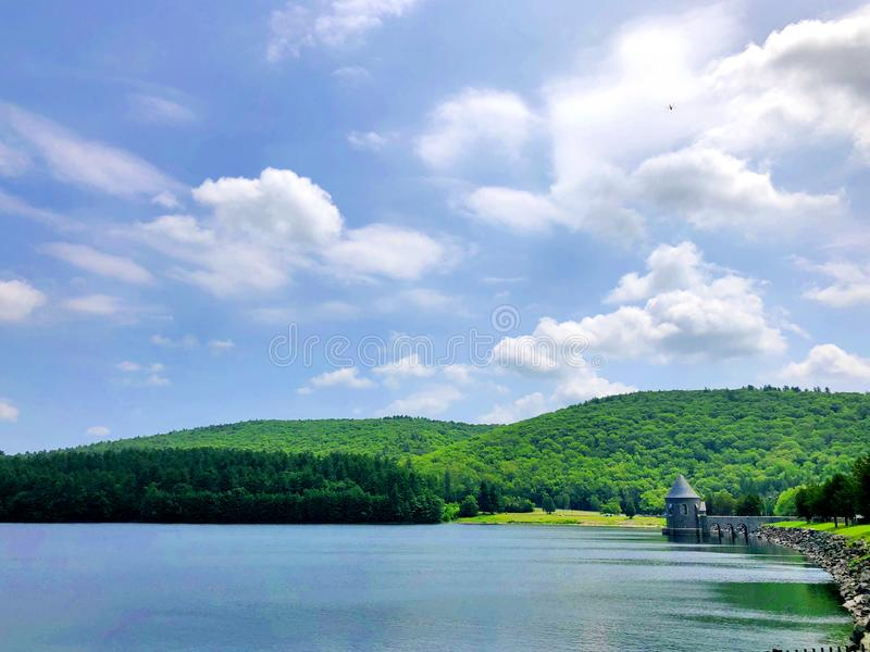 Barkhamsted Reservoir in Saville Dam. In Connecticut near Farmington River in Connecticut United States royalty free stock image