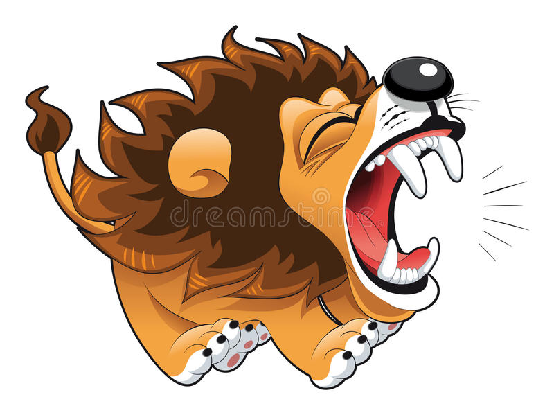 Barking lion. Funny cartoon and character