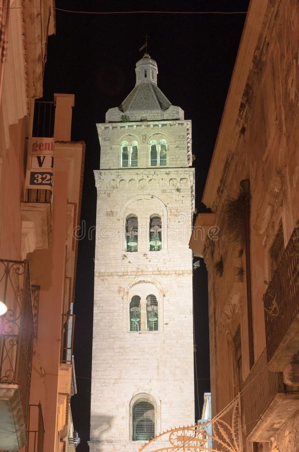Barletta cathedral bell tower in night sky royalty free stock photo