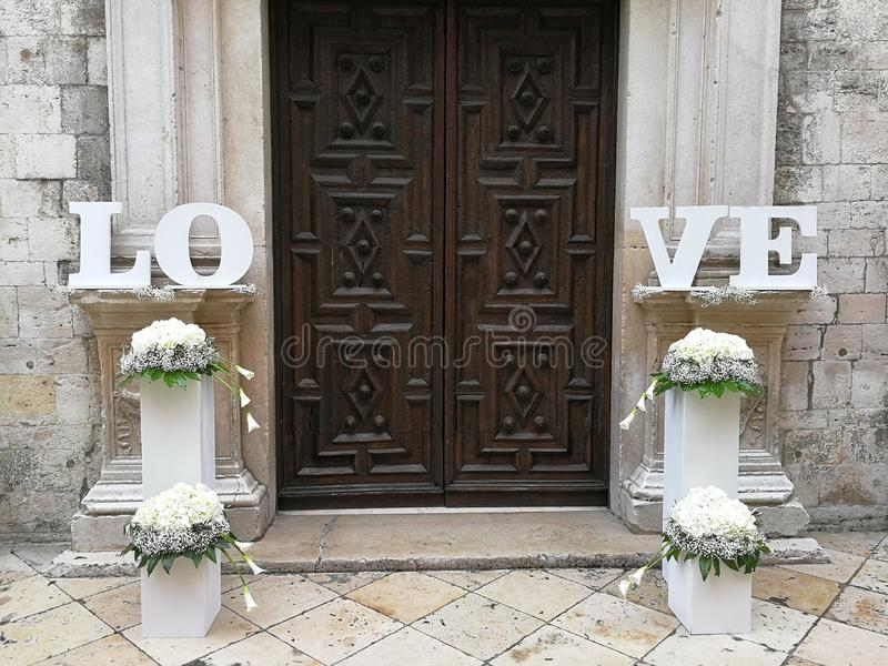 Barletta - Wedding decorations at the entrance of the Cathedral royalty free stock photography