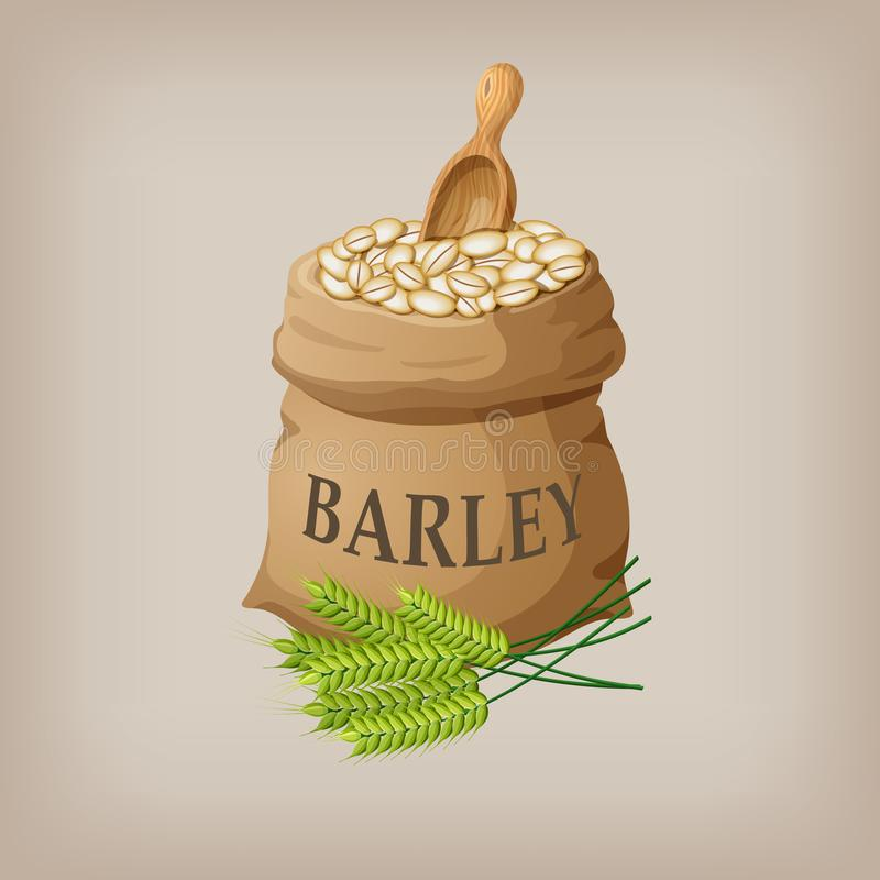 Barley grain seed in the bag. Vector illustration. EPS10 royalty free illustration