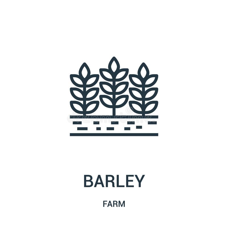 barley icon vector from farm collection. Thin line barley outline icon vector illustration. Linear symbol for use on web and stock illustration