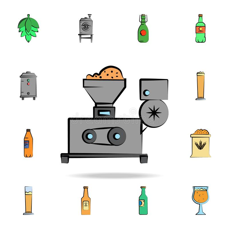 Barley mixer colored sketch style icon. Detailed set of color beer in hand drawn style icons. Premium graphic design. One of the. Collection icons for websites vector illustration