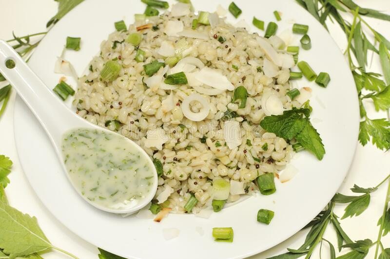 Barley and Urid Dal with lemon with herbs and spices stock photography
