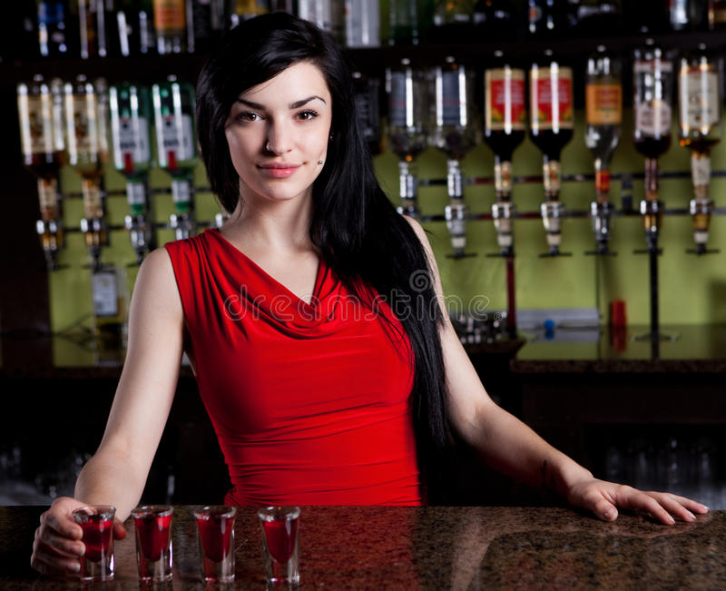 Barmaid image stock