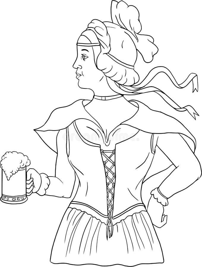 Barmaid allemande Serving Beer Drawing illustration stock