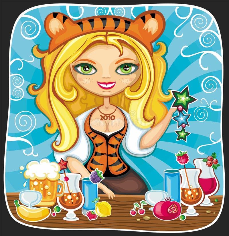 Barmaid mignonne de tigress illustration stock