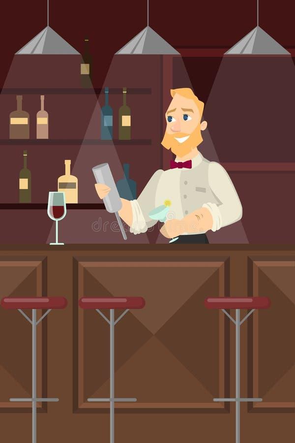 Barman à la barre illustration de vecteur