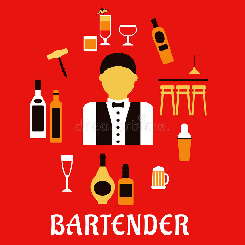 Barman avec des cocktails Concept plat de profession illustration stock