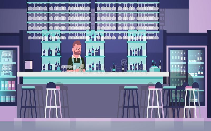 Barman On Bar Counter, Barkeeper Man Over Bottles d'alcool et de verres sur le fond illustration libre de droits