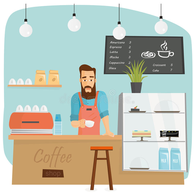 Barman barbu à la mode faisant le café dans le coffeeshop illustration stock