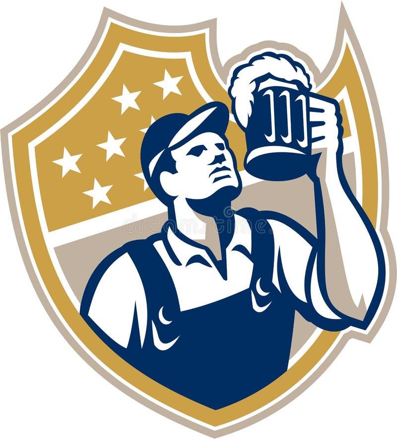 Barman Beer Mug Retro do empregado de bar ilustração royalty free
