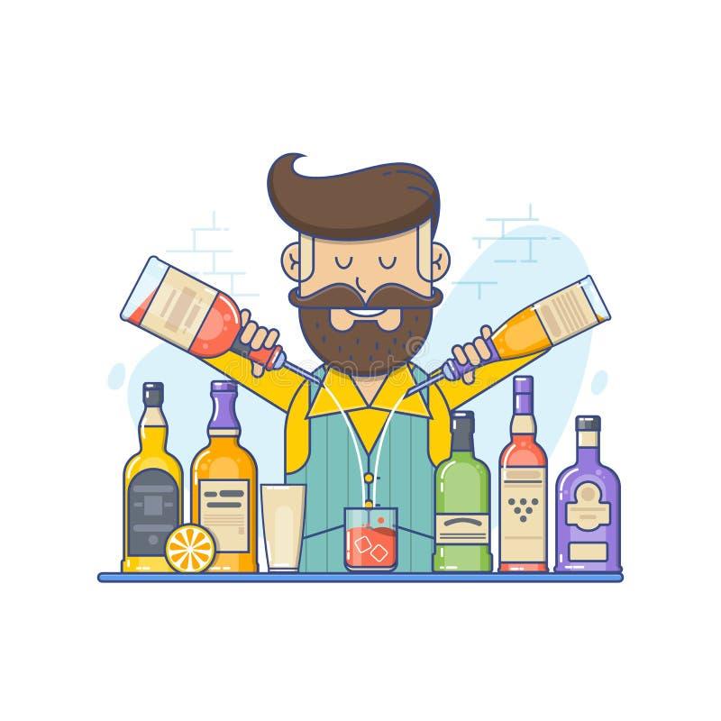 Barman caucasien de hippie avec la barbe se tenant au compteur de barre Barman avec la bouteille dans des mains Illustration plat illustration libre de droits