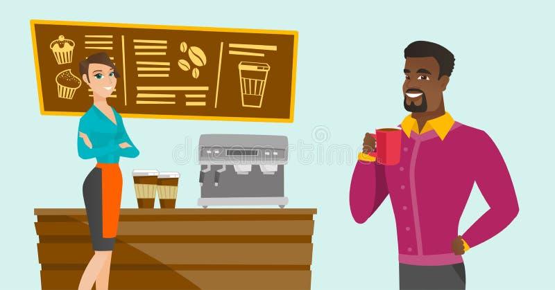 Barman caucasien se tenant près de la machine de café illustration de vecteur