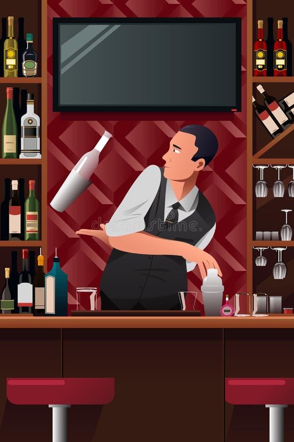 Barman dans l'action illustration libre de droits