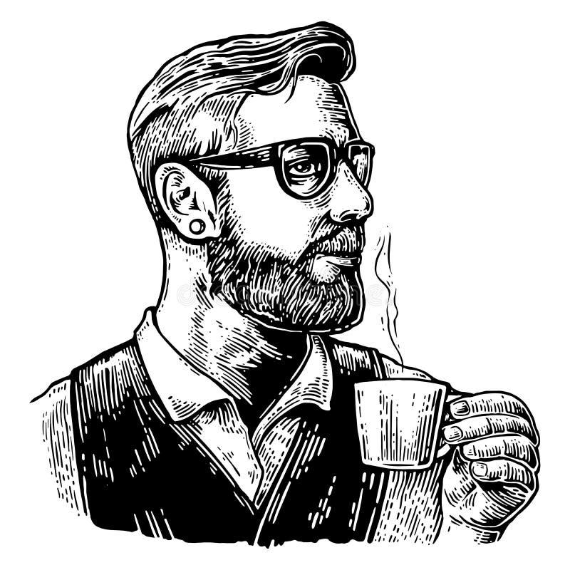 Barman de hippie avec la barbe tenant une tasse de café chaud illustration stock