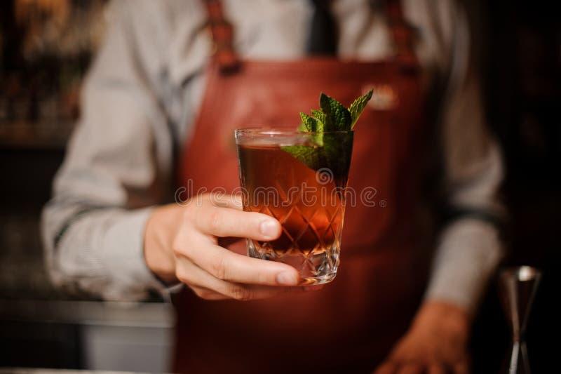 Barman dekoruje koktajli/lów nowych liście żadny twarz fotografia royalty free