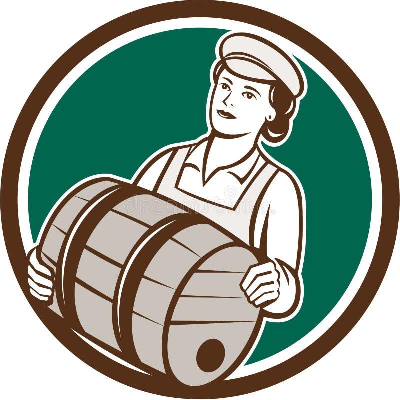 Barman féminin Carrying Keg Circle rétro illustration libre de droits