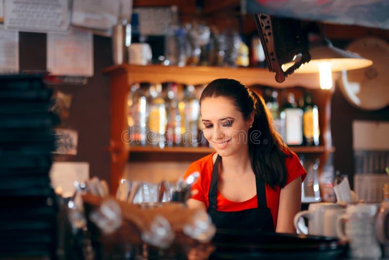 Barman féminin gai Working Behind le compteur photo libre de droits