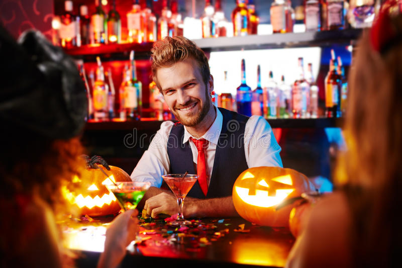 Barman of Halloween night royalty free stock photography