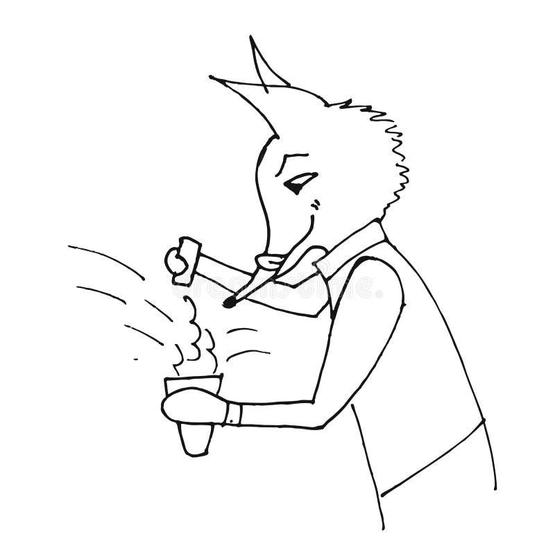 Barman heureux de renard, boissons de mélanges illustration stock