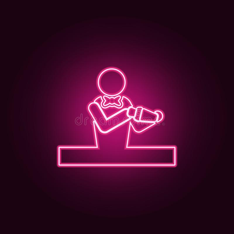 barman ikona Elementy bar w neonowych stylowych ikonach Prosta ikona dla stron internetowych, sie? projekt, mobilny app, ewidency ilustracja wektor