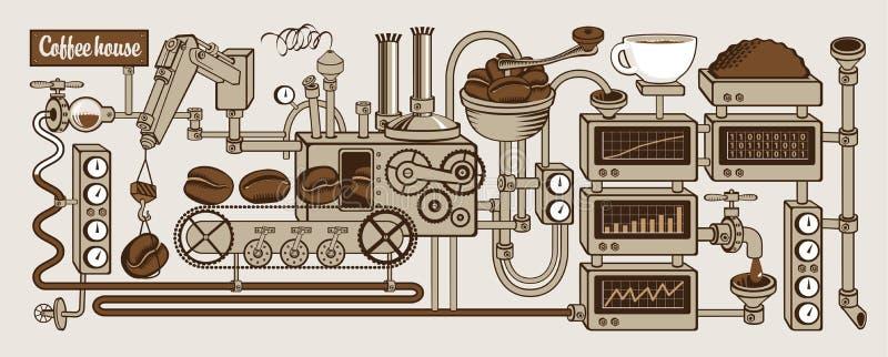 barman kawy cappuccino dom gotowy royalty ilustracja