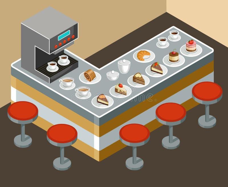 barman kawy cappuccino dom gotowy ilustracji