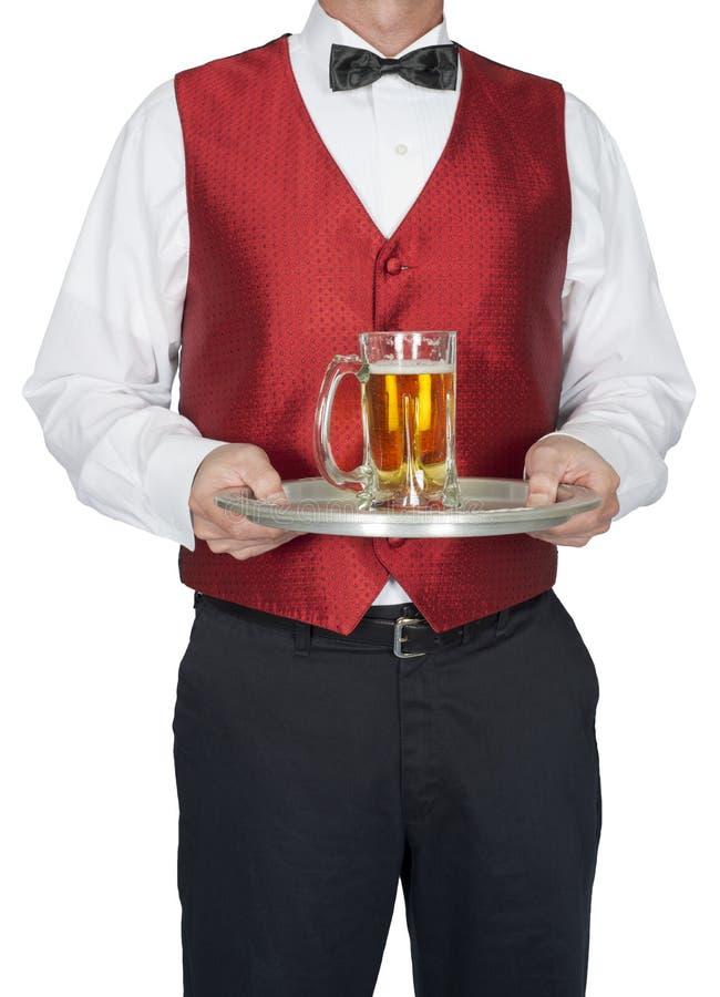Barman, kelner, serwer, piwo, Odizolowywający obraz stock
