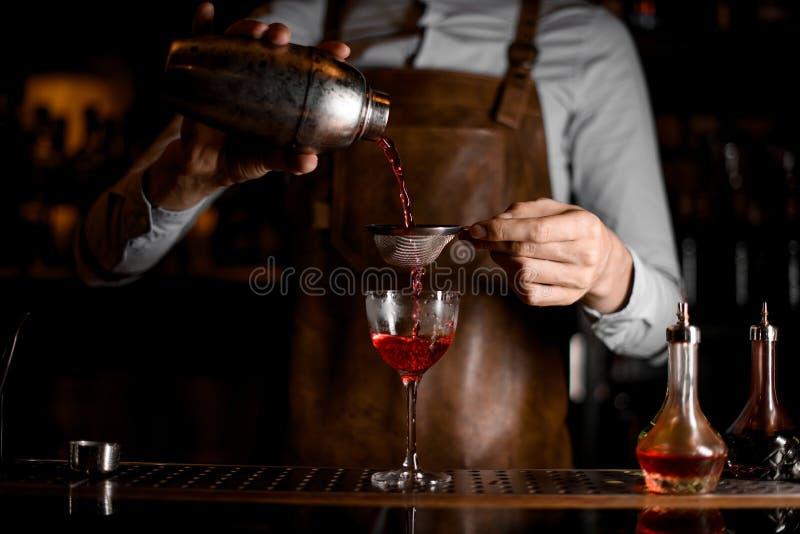 Barman masculino profissional que derrama uma bebida alcoólica vermelha do abanador de aço através da peneira fotografia de stock royalty free