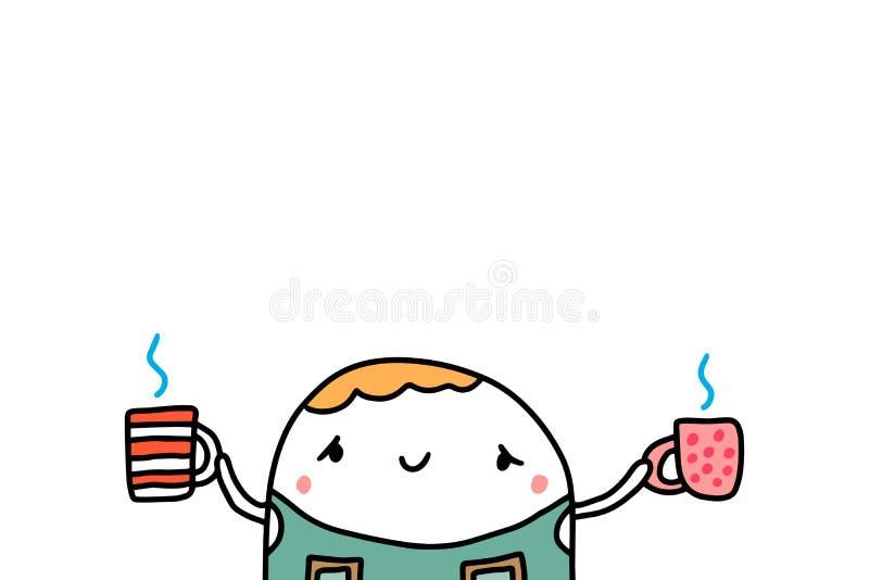 Barman mignon tenant deux tasses avec l'illustration tirée par la main de vecteur de café chaud illustration libre de droits