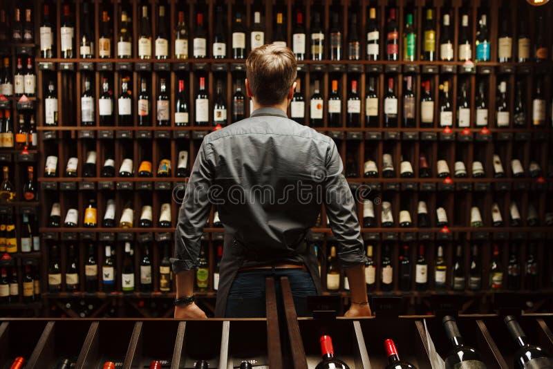 Barman na adega de vinho completamente das garrafas com bebidas excelentes imagens de stock