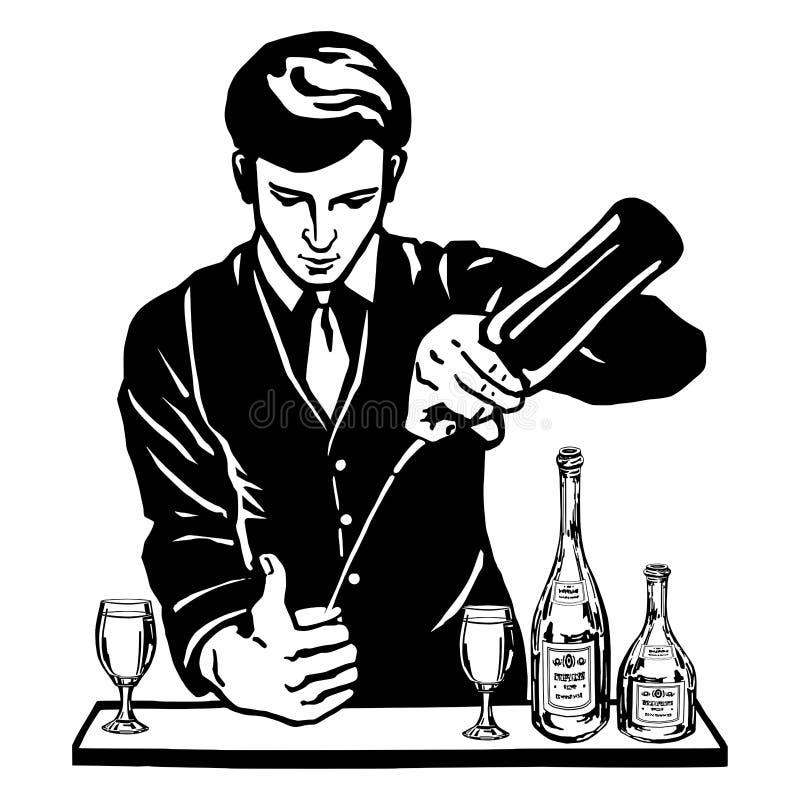 Barman na barra com garrafas ilustração stock