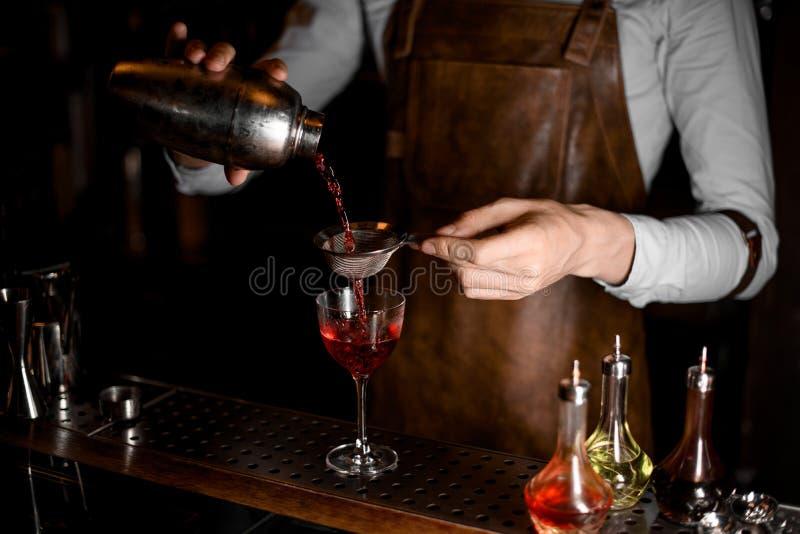 Barman no avental de couro que derrama uma bebida alcoólica vermelha do abanador de aço através da peneira fotografia de stock royalty free