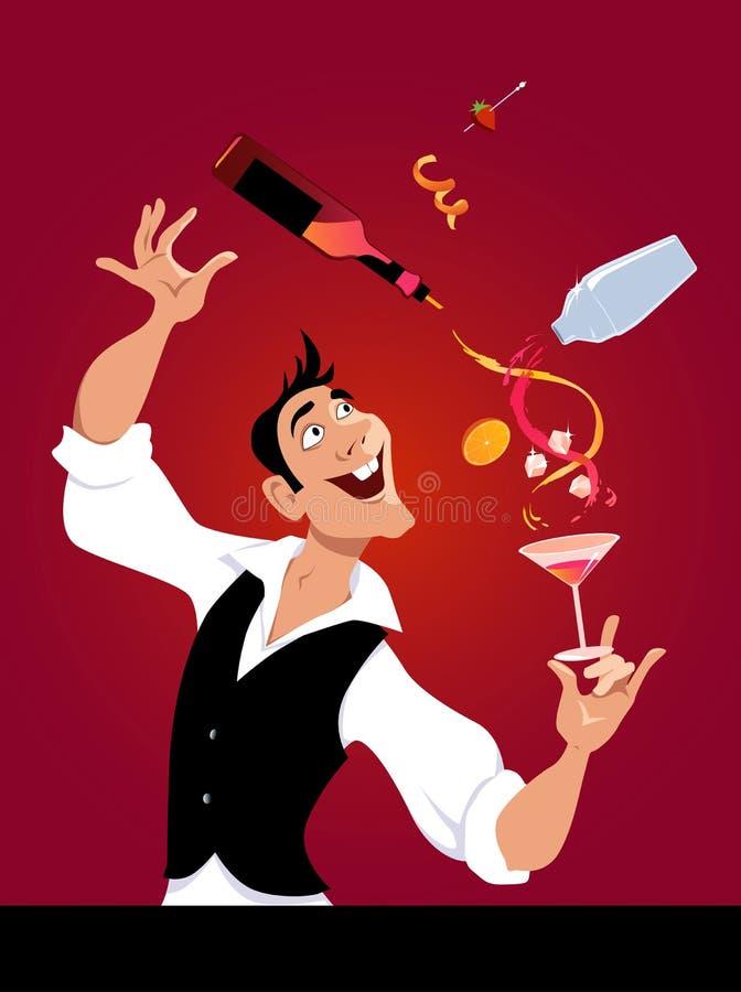 Barman przy pracą royalty ilustracja