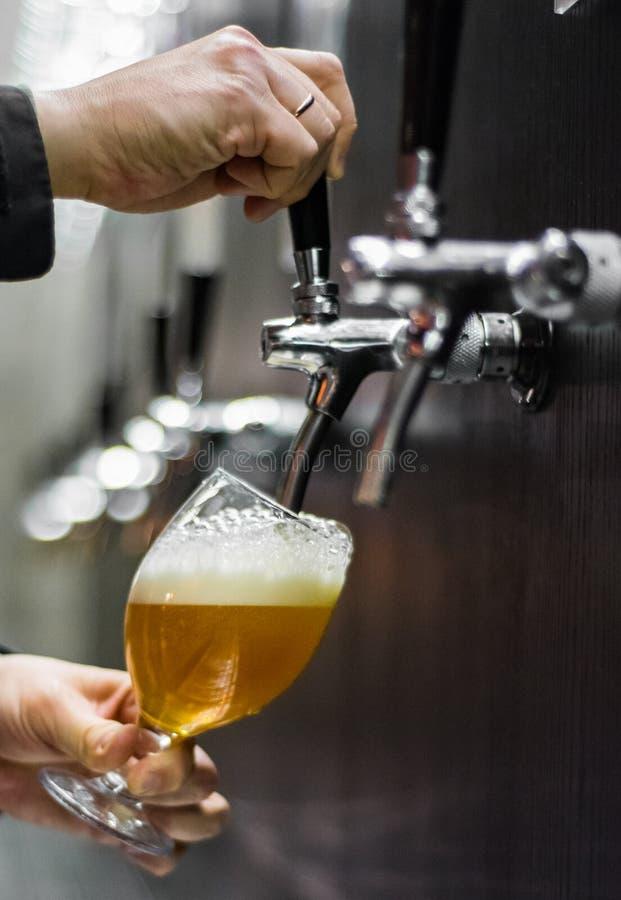 Barman ręka przy piwa klepnięciem nalewa łyknięcia piwo w szklanej porcji w restauracji zdjęcia stock
